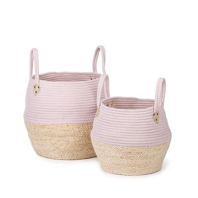 Kidsdepot Kori set van 2 manden roze/naturel