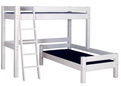 Beddyfurn Nuova hoek stapelbed 90x200 schuine trap deelbaar grenen wit