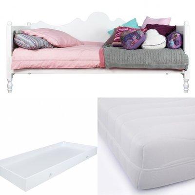 Bopita Belle bedbank 3 delige set met lade en HR 40 matras 90x200 wit