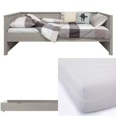 Bopita Basic wood bedbank 3 delige set met lade en HR 40 matras 90x200 gravel wash