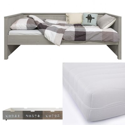 Bopita Basic wood bedbank 3 delige set met lade en HR 40 matras 90x200 gravel wash mixed