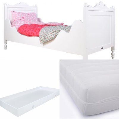 Bopita Belle bed 3 delige set met lade en HR 40 matras 90x200 wit