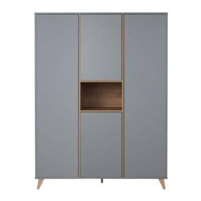 Quax Loft kledingkast XL 4 deuren grijs/naturel beuken