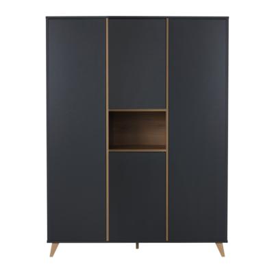 Quax Loft kledingkast XL 4 deuren antraciet/naturel beuken