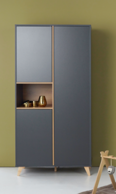 Quax Loft kledingkast 3 deuren antraciet/naturel beuken