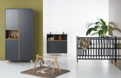 Quax Loft 3-delige babykamer antraciet/naturel beuken