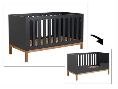 Quax Indigo moonshadow ledikant/bedbank 70x140 antraciet/naturel beuken