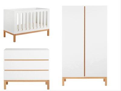 Quax Indigo 3-delige babykamer wit/naturel beuken