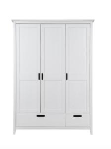 Infanskids Solvita 3 deurs kledingkast + 2 lades wit