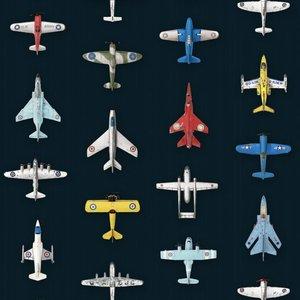 Studio Ditte behang vliegtuigjes donker blauw