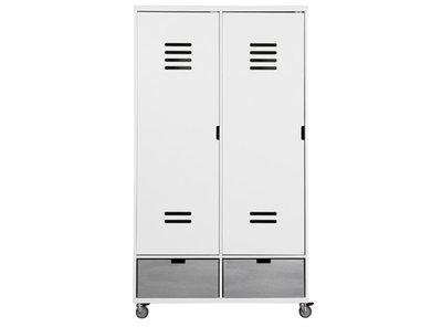 bopita 2 deurs locker kleding kast wit 2 bakken