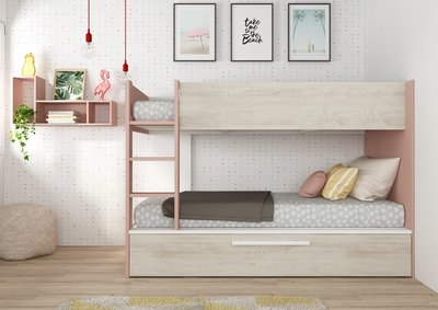 jules stapelbed oud roze