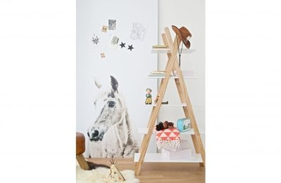 woood tipi design boekenkast wit naturel