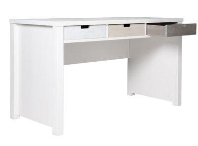 Bopita basic wood bureau grenen white wash kinderbeddenstore for Bureau 60x120
