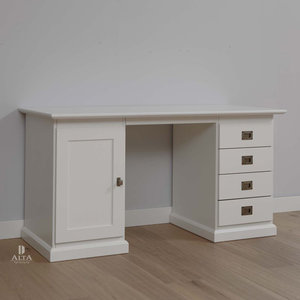 Alta 5470 bureau met kastjes grenenhout wit for Bureau 60x120