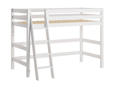 hoppekids xxl middel hoogslaper 90x200 schuine trap grenen wit kinderbeddenstore. Black Bedroom Furniture Sets. Home Design Ideas