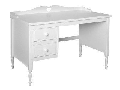 Lilli furniture bureau emma met hartje en 2 laden wit for Bureau 60x120