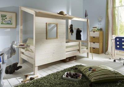 ifanskids super coole laag boomhut bed 90x200 beits wit. Black Bedroom Furniture Sets. Home Design Ideas