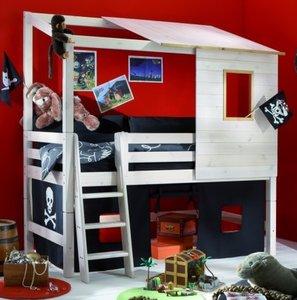 Halfhoogslaper Wit Hout.Ifanskids Super Coole Piraten Halfhoog Boomhut Bed 90x200 Beits Wit