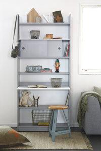 Coming kids Morris bureau / boekenkast in één grijs-wit ...