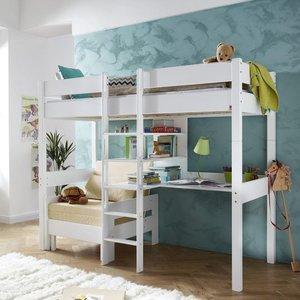 Relita noel hoogslaper met zitje en desk beuken wit kinderbeddenstore for Bureau 60x120