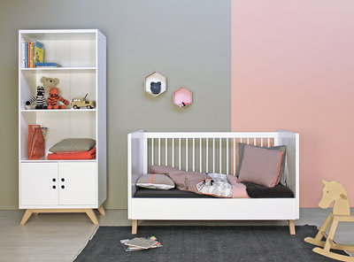 Peuterbed Bopita Wit.Bopita Lynn Peuter Cotbed Bedbank 70x140 Design Wit Naturel