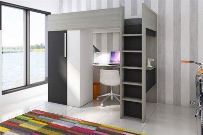 Beddyfurn studio hoogslaper met kast en bureau wit grijs antraciet