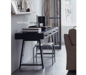 Vt wonen sidetable bureau grenen zwart kinderbeddenstore for Bureau 60x120