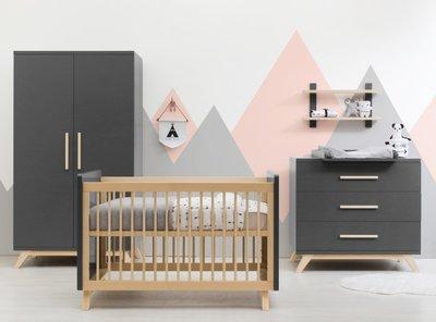 Bopita Kyan 3 delige babykamer deep grey - naturel