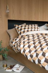 Snurk dekbedovertrek wooden cubes 1-persoons 140 x 200 cm