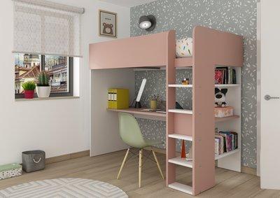 jules hoogslaper roze wit 90x200