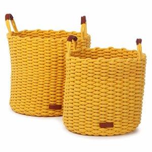 Kidsdepot Korbo-L set van 2 manden geel