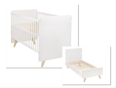 Quax Loft omvormbaar bed 70x140 wit/naturel beuken