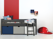 Bopita timo deep grey bed