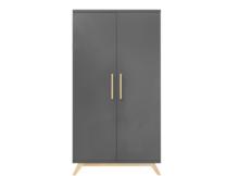 Bopita Kyan 2 deurs kledingkast Deep grey - natural